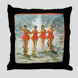 4 waterskiers Throw Pillow